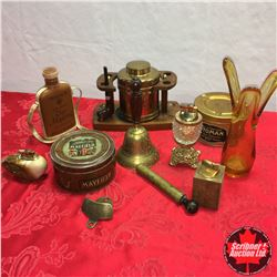 Tray Lot - Amber Theme: Vase, Pipe Stand, Hand Bell, Lighters, Tins, etc