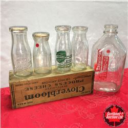 Milk Bottle Collection (4 Small 1 Large) + Cheese Box