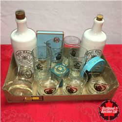 Tray Lot: Hudson's Bay Bottles, Glasses, Cig Tin, Tobacco Tins