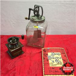 Blow Butter Churn, Coffee Grinder, Repro Sears & Roebuck Catalog