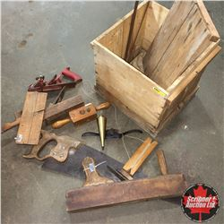 Wood Egg Box Lot: Vintage Tools (Saws, Planes, etc)