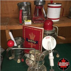 Vintage Kitchen Red/White/Chrome Combo: Bean Frencher, Flour Sifters (3); Juicer, Churn & Purity Coo