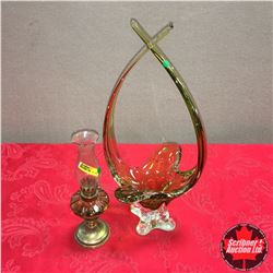 Murano Glass Dish & Small Oil Lamp