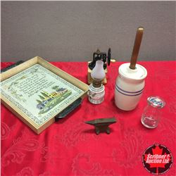 Tray Lot - Miniature Theme: Butter Churn Crock, Grinder, Lamp, Milk Bottle, Anvil)