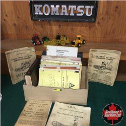 "Implement/Tractor Books, Toys (4) & ""KOMATSU"" Emblem (20""x7"")"