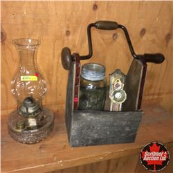 Barn Board Tool Box w/Glass Door Knob Set & Coal Oil Lamp & Jar
