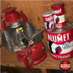 "Red/White Combo: Beacon Barn Lantern w/Reflector, 3 Calumet Tins & Blow Torch ""Unique Mfg. Co. Inc."""