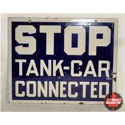 """Porcelain """"Stop Tank – Car Connected""""  (15""""L x 12""""W)"""