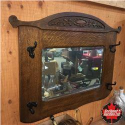 "Oak Wall Bevelled Mirror Hat Rack (30""Wx25""H)"
