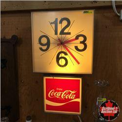 "1970 Enjoy Coca-Cola Electric Wall Clock (12""W x 21""H)"