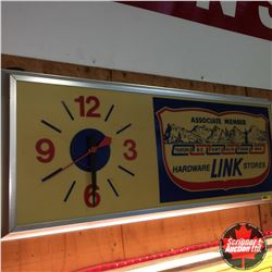 """LINK Hardware Stores"" Electric Wall Clock (Clock works, Needs Bulbs, Cracked Lens) 37"" x 15"""