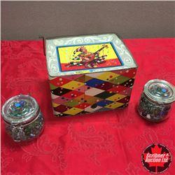 Mattel Carnival Hurdy Gurdy Tin Music Box/Drum c.1953 & 2 Jars of Marbles