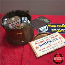 Copper Kettle Pot w/Contents (Soap Boxes, Signs, Floor Wax Tin, etc)