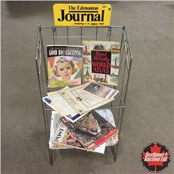Edmonton Journal Newspaper Rack w/Selection of Ephemera
