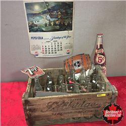Lethbridge Wood Crate Breweries w/Variety Pop Bottles, 7-Up Patch, Pepsi Calendar Sheet, etc