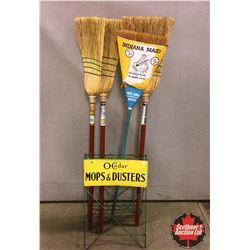 O-Cedar Mops & Dusters Store Display Rack w/4 Brooms