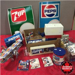 Tray Lot - Pepsi Theme: Dispenser, Tin Can Airplane, Model Cars, Fountain Light Lens, etc !