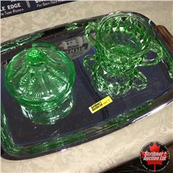 2 Pieces Green Depression Vaseline Glass