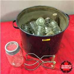 Canning Pot w/Large Selection of Insulators & Jar & Lifter