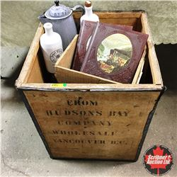 Hudson's Bay Wood Shipping Crate w/Contents (2 Bottles, Enamel Kettle, 2 Timelife Books, Parlor Stoo