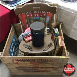 Crown Corks Wood Ship Crate w/Contents > Antique Collector Starter Kit ! (Chair, Robin Hood Ad, Tin,