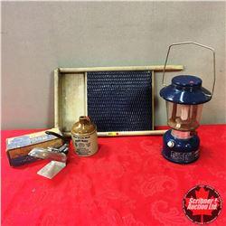Blue Theme Group! Washboard, Coleman Lantern, Greyhound Travel Iron, Whiskey Crock