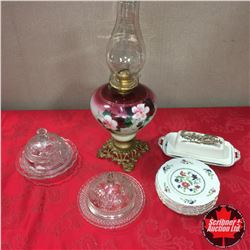 Tray Lot: Painted Floral Base Footed Queen Anne No 2 Coal Oil Lamp & Variety Glassware/China