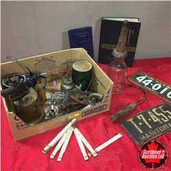 Box Lot: Glass Jar Oil Quart w/Spout, Lic Plates, IT Manual, Blow Torch, Wrenches, etc. !