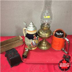 Tray Lot: Coal Oil Lamp, Beer Stein, Flour Sifter, Cast Coca-Cola Bottle Opener, Cast Iron Match Sti