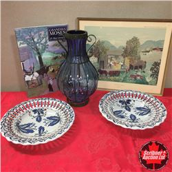 Large Blue Vase, 2 Blue Wall Hanging Plates, Grandma Moses Book & Framed Picture