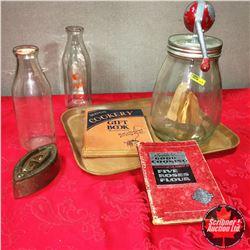 Tray Lot: Butter Churn, 2 Milk Bottles, Cookbooks, Sad Iron