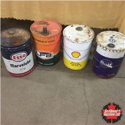 4 Oil Pails (5 Gallon) : Esso, UFA, Shell, Gulf