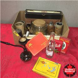 Box Lot: Player Piano Scrolls, Tobacco Tins, Cig Tins, Cylinder Records, Pipe Stand w/Pipes, etc
