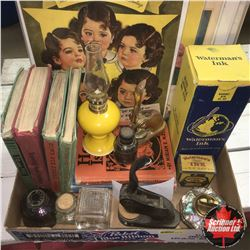 Tray Lot: Dionne Quintuplets Magazine Ads, Small Oil Lamp (Yellow), Watermans Ink (Bottle in Box), D