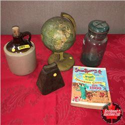 Small Globe, Crock Jug, Sheep Bell, Blue Jar & Repro Sears & Roebuck Catalog