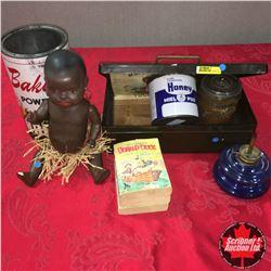 Cash Box w/Big Little Books (3), Nabob & Honey Tins, Small Blue Base Lamp & Heubach Koppelsdort Germ