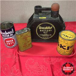 """Break-Not"" Battery Kit & 3 Oil Tins (Woodwards, SKF, Monarch Pump Jack)"