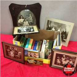 Box Lot: Vintage Framed Photographs, Books, Plate, Buttons, etc