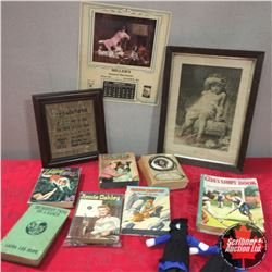 Box Lot: Teen Girl Books & Framed Canvas & Calendar 1936