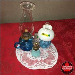 Blue Coal Oil Lamp Trio