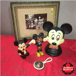 Mickey Mouse Collectible Figures AND Rattle (appears to be early . . . Mortimer Mouse!?!) + Framed P