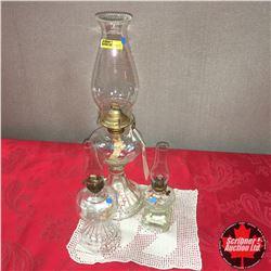 Clear Glass Coal Oil Lamp Trio