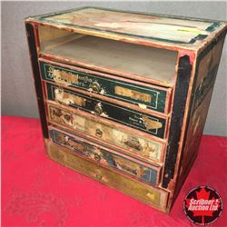 King's Kidney Plasters Counter Top Store Display Chest (One Drawer Missing)