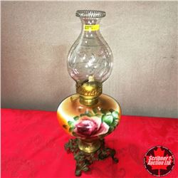 Floral & Footed Base Coal Oil Lamp - Fancy Owl & Star Chimney