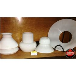 Collection of Milk Glass Lamp Shades (6)