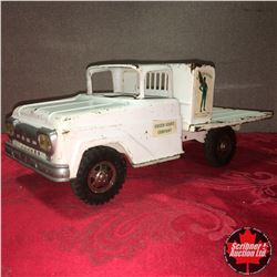 "Toy Truck: Tonka Flatbed Truck (White) ""Green Giant"""