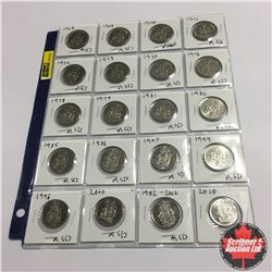 Canada Fifty Cent - Sheet of 20: 1968; 1969; 1970; 1971; 1972; 1974; 1975; 1976; 1978; 1978; 1979; 1