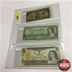 "Canada Bills (3) : 1923 Twenty Five Cent ""Shinplaster"" ; $1 1954 ; $1 1973"