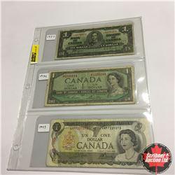 Canada Bills (3) :  1937 $1; 1954 $1; 1973 $1