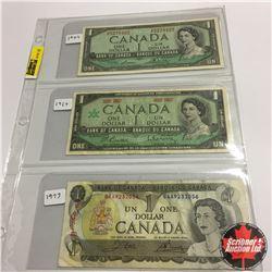 Canada Bills (3) :  1954 $1; 1967 $1 Centennial; 1973 $1